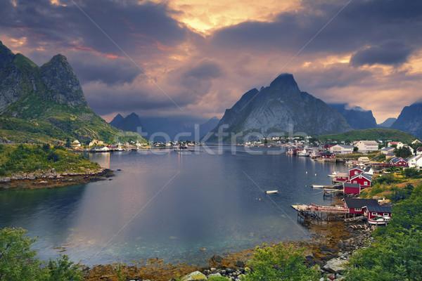 ノルウェー 風光明媚な 町 島々 ストックフォト © rudi1976