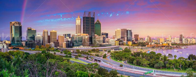 Сток-фото: панорамный · Cityscape · изображение · Skyline · Австралия · драматический
