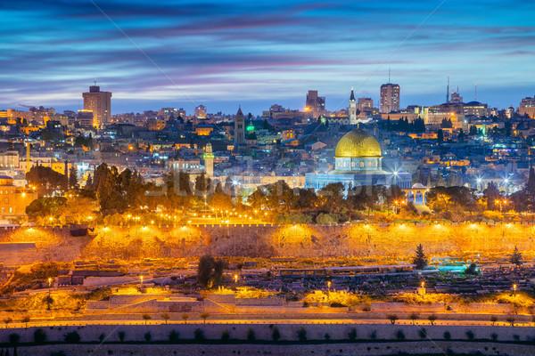 Stockfoto: Oude · binnenstad · Jeruzalem · stadsgezicht · afbeelding · Israël · koepel
