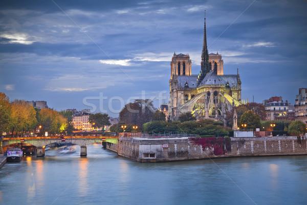 Notre Dame-katedrális Párizs kép alkonyat Franciaország Stock fotó © rudi1976