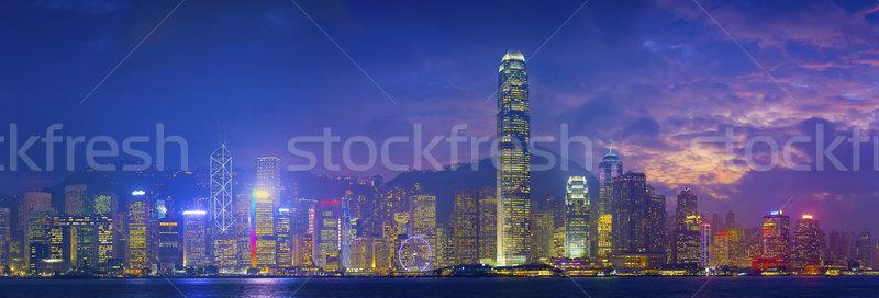 Hong Kong panorama panoramik görüntü çok gökdelenler Stok fotoğraf © rudi1976