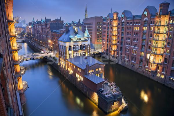 Гамбург изображение сумерки синий час Сток-фото © rudi1976