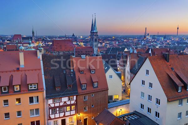 Imagem histórico centro da cidade Alemanha pôr do sol Foto stock © rudi1976