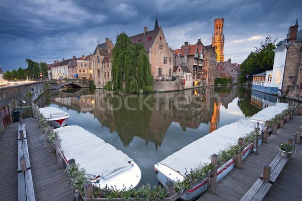 Afbeelding beroemd plaats België schemering Blauw Stockfoto © rudi1976