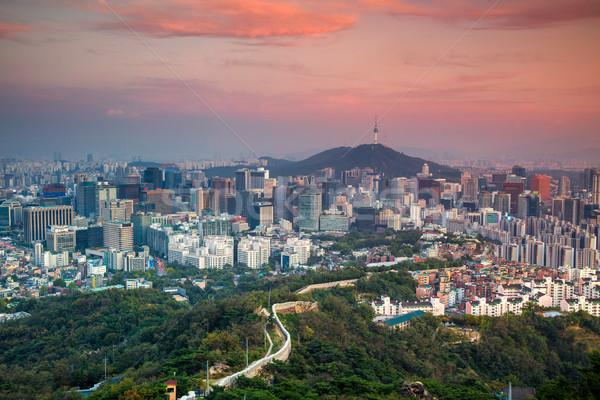 Cityscape görüntü şehir merkezinde yaz gün batımı gökyüzü Stok fotoğraf © rudi1976