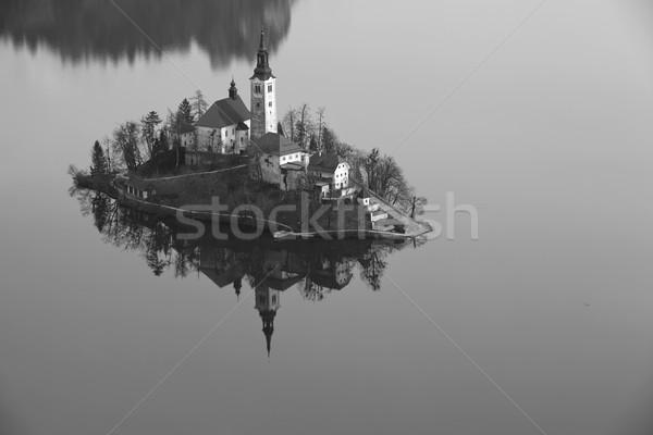 Tó feketefehér kép templom feltételezés kicsi Stock fotó © rudi1976