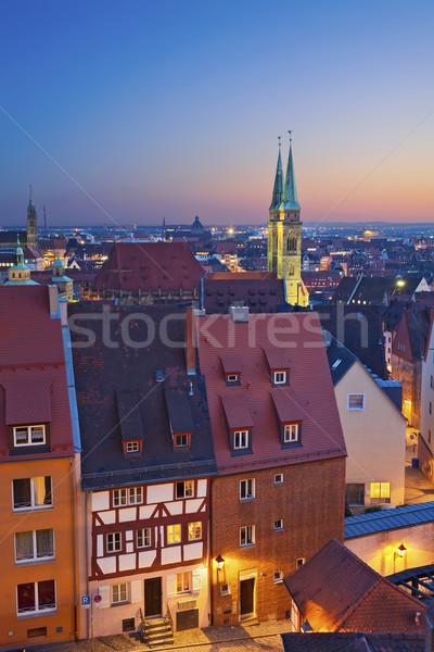 Imagen histórico centro de la ciudad Alemania puesta de sol Foto stock © rudi1976