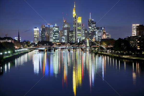Frankfurt hoofd- afbeelding skyline zonsondergang Stockfoto © rudi1976