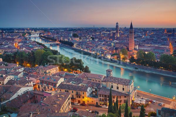 Verona afbeelding Italië zomer zonsondergang stad Stockfoto © rudi1976