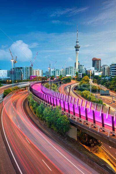 Сток-фото: Cityscape · изображение · Skyline · Новая · Зеландия · рассвета · дороги