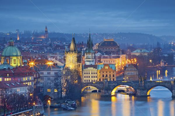 Praag afbeelding stad Tsjechische Republiek brug schemering Stockfoto © rudi1976