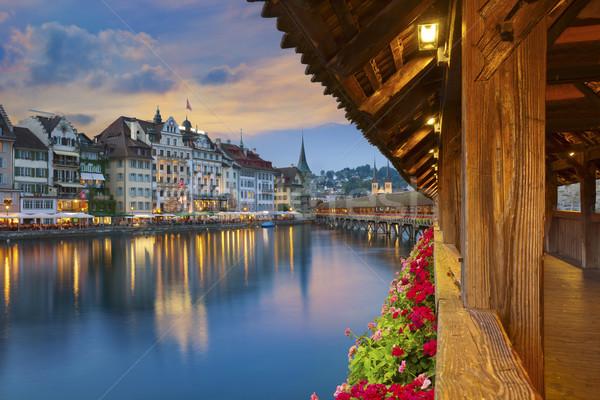 Imagem Suíça crepúsculo azul hora madeira Foto stock © rudi1976