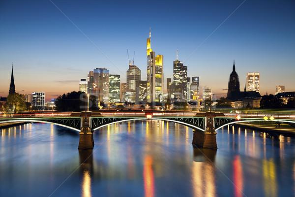Stockfoto: Frankfurt · hoofd- · afbeelding · skyline · zonsondergang