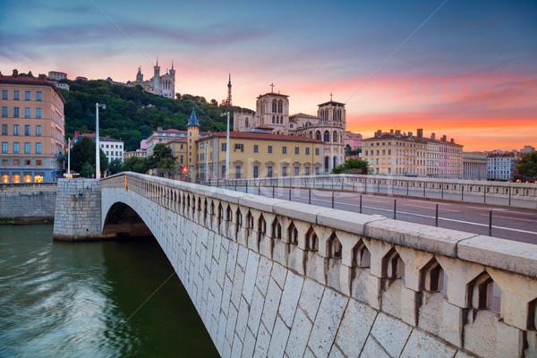 Lyon cityscape imagem França céu pôr do sol Foto stock © rudi1976