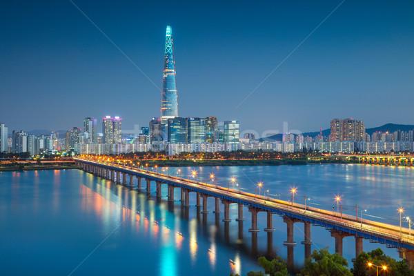 Seul Cityscape görüntü nehir tan mavi Stok fotoğraf © rudi1976