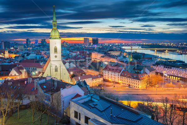 Bratislava cityscape imagem cidade Eslováquia dramático Foto stock © rudi1976