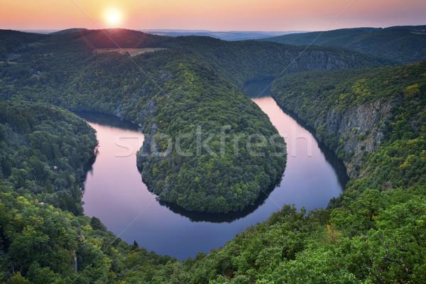 Rio belo República Checa verão pôr do sol Foto stock © rudi1976