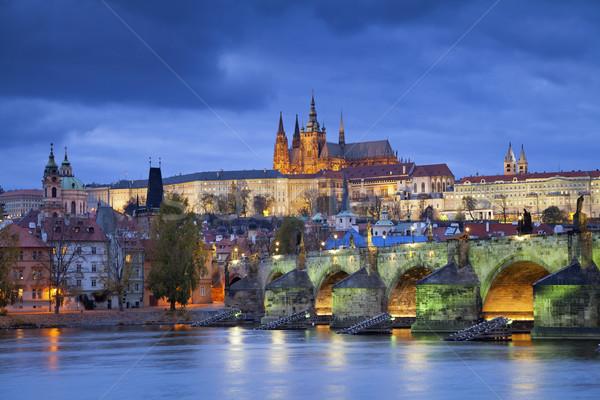 Prag görüntü şehir Çek Cumhuriyeti tan mavi Stok fotoğraf © rudi1976