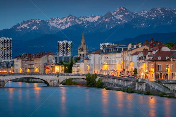 Cityscape imagem França crepúsculo azul hora Foto stock © rudi1976