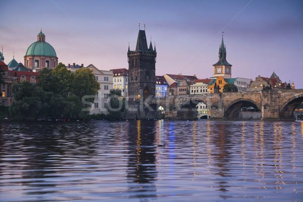 Praag afbeelding stad Tsjechische Republiek schemering Blauw Stockfoto © rudi1976