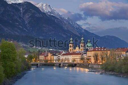 Afbeelding Oostenrijk schemering Blauw uur europese Stockfoto © rudi1976