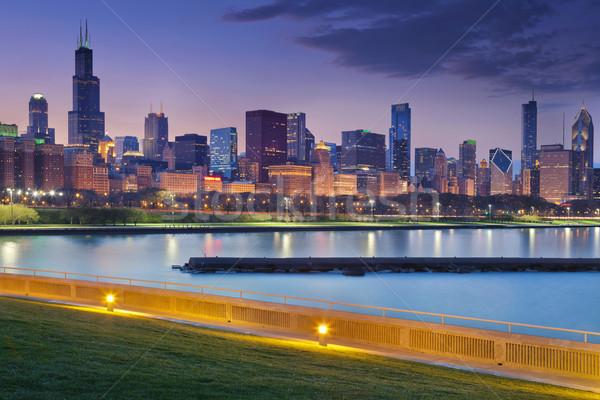 Stock fotó: Chicago · sziluett · kép · éjszaka · tükröződés · város · fények
