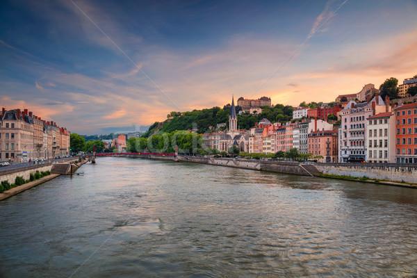 Lyon városkép kép Franciaország égbolt naplemente Stock fotó © rudi1976