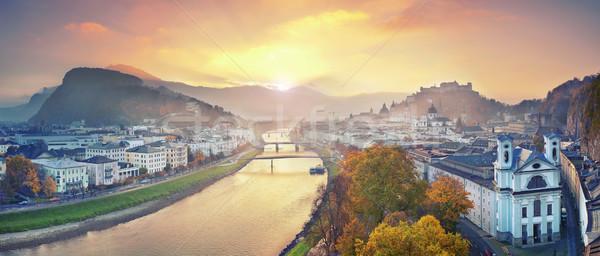 Áustria panorâmico imagem outono nascer do sol Foto stock © rudi1976