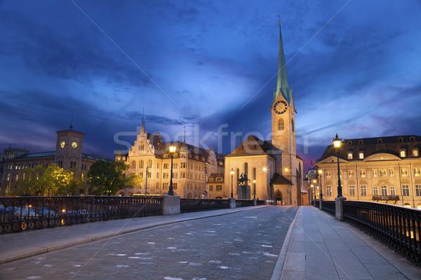 Zürih görüntü İsviçre tan mavi saat Stok fotoğraf © rudi1976