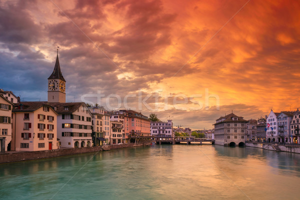 Cityscape image dramatique coucher du soleil église pont Photo stock © rudi1976