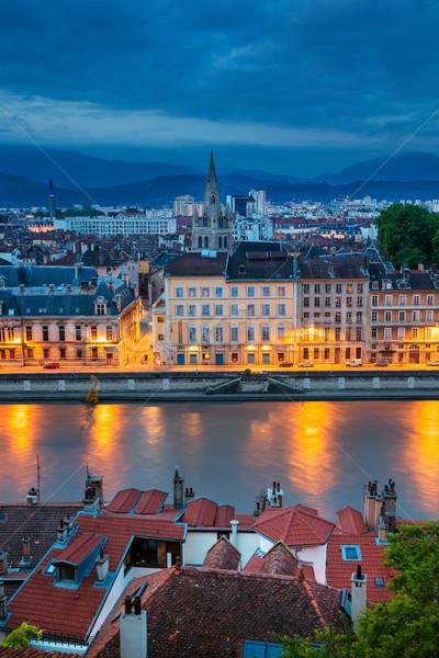 Cityscape imagem França crepúsculo azul Foto stock © rudi1976