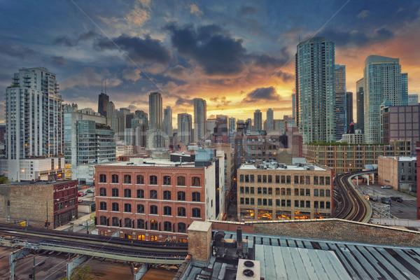 Chicago şehir merkezinde görüntü modern bölge gündoğumu Stok fotoğraf © rudi1976