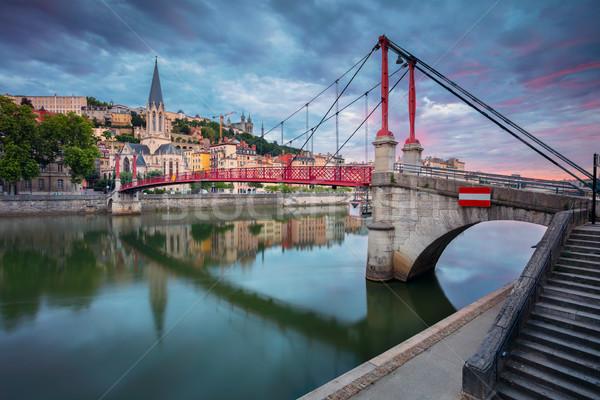 Lyon városkép kép Franciaország égbolt tájkép Stock fotó © rudi1976