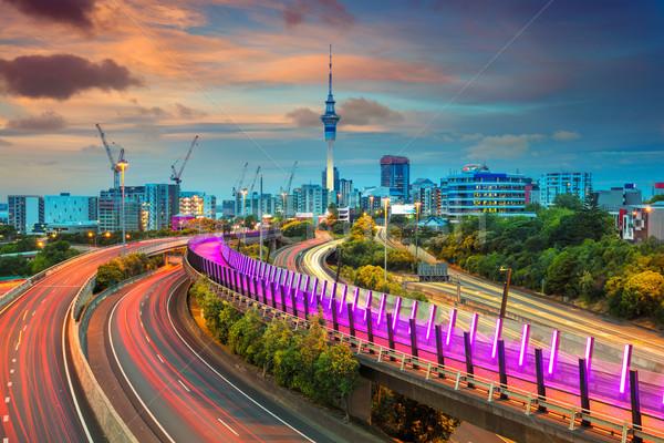 Cityscape imagem linha do horizonte Nova Zelândia pôr do sol estrada Foto stock © rudi1976