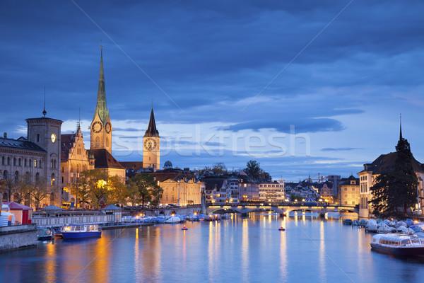 Zürich kép szürkület kék óra Stock fotó © rudi1976