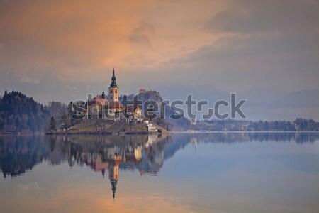 Сток-фото: озеро · Церкви · предположение · небольшой · острове · Словения