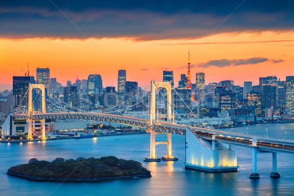 Tokio Cityscape obraz Japonia tęczy most Zdjęcia stock © rudi1976