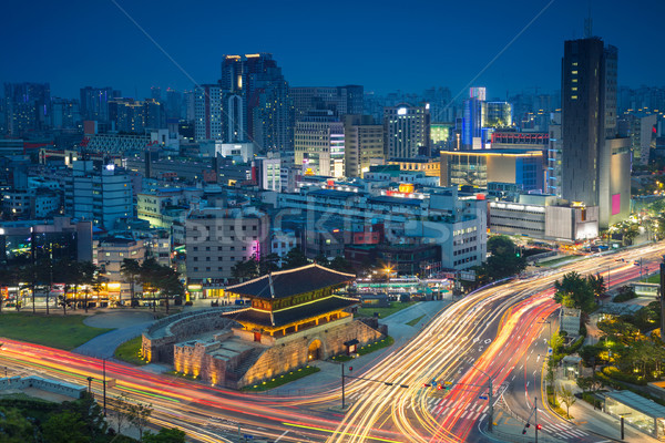 Stock fotó: Kép · belváros · kapu · szürkület · kék · óra