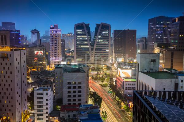 Cityscape imagem centro da cidade crepúsculo azul hora Foto stock © rudi1976