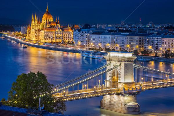 Boedapest stadsgezicht afbeelding stad Hongarije schemering Stockfoto © rudi1976
