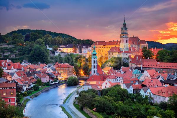 антенна Cityscape изображение Чешская республика лет закат Сток-фото © rudi1976