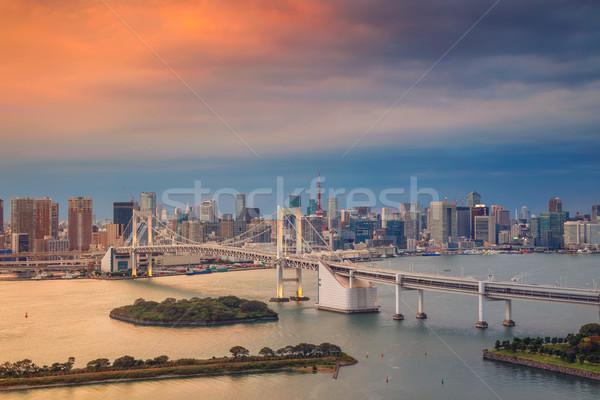 Tokio paisaje urbano imagen Japón arco iris puente Foto stock © rudi1976