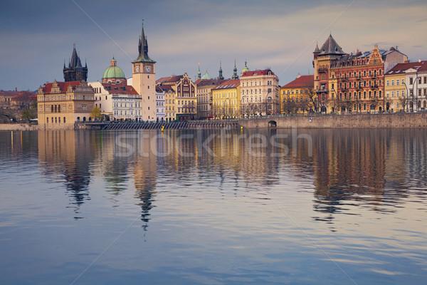 Prága kép vízpart tükröződés város Stock fotó © rudi1976