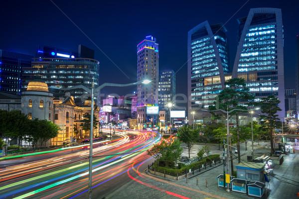 Foto stock: Seul · cityscape · imagem · centro · da · cidade · noite · céu