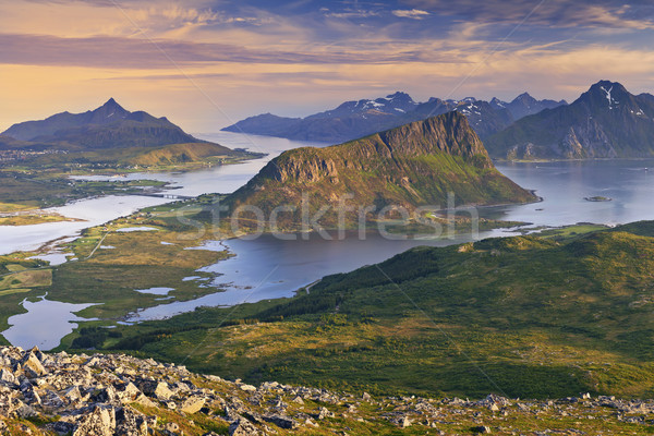 Noruega ver verão pôr do sol Foto stock © rudi1976
