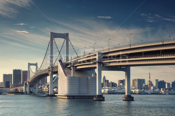Tokyo Cityscape görüntü Japonya gökkuşağı köprü Stok fotoğraf © rudi1976