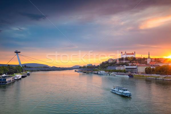 Bratislava cityscape image ville Slovaquie nuages Photo stock © rudi1976