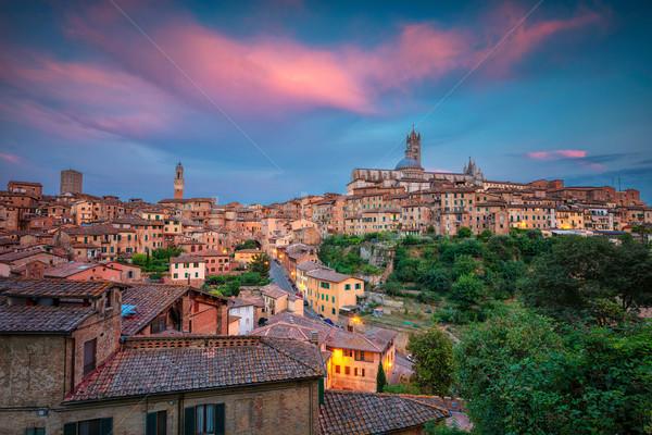 Olaszország városkép légi kép középkori város Stock fotó © rudi1976