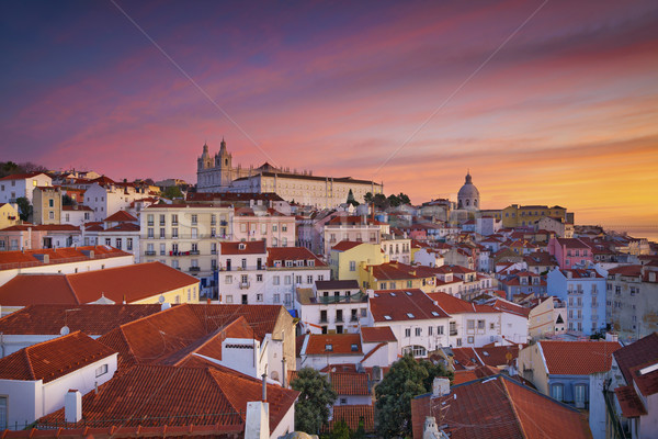 Lisszabon kép Portugália drámai napfelkelte Stock fotó © rudi1976