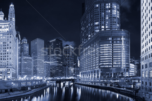 Város Chicago belváros vízpart kilátás éjszaka Stock fotó © rudi1976
